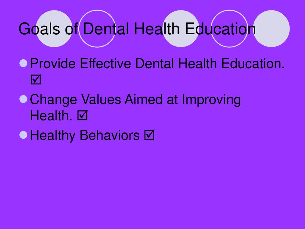 Goals of Dental Health Education