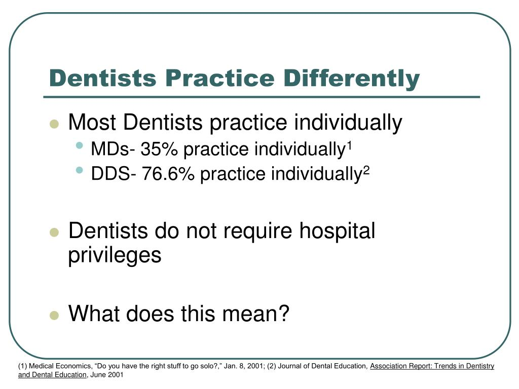 Dentists Practice Differently