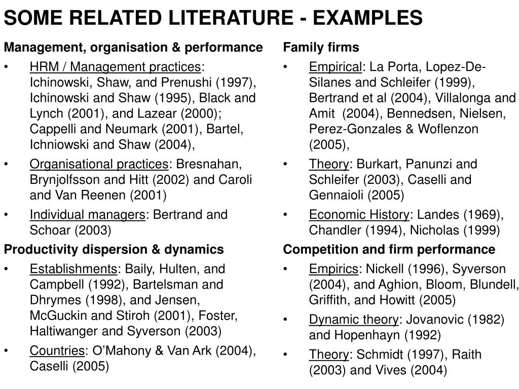 SOME RELATED LITERATURE - EXAMPLES