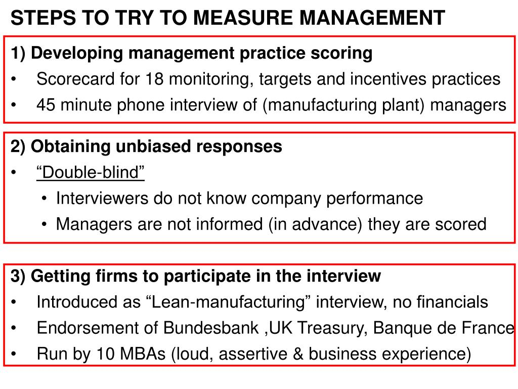 STEPS TO TRY TO MEASURE MANAGEMENT