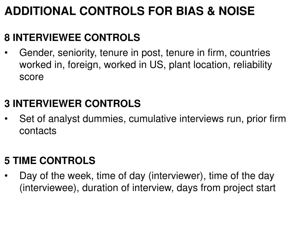 ADDITIONAL CONTROLS FOR BIAS & NOISE