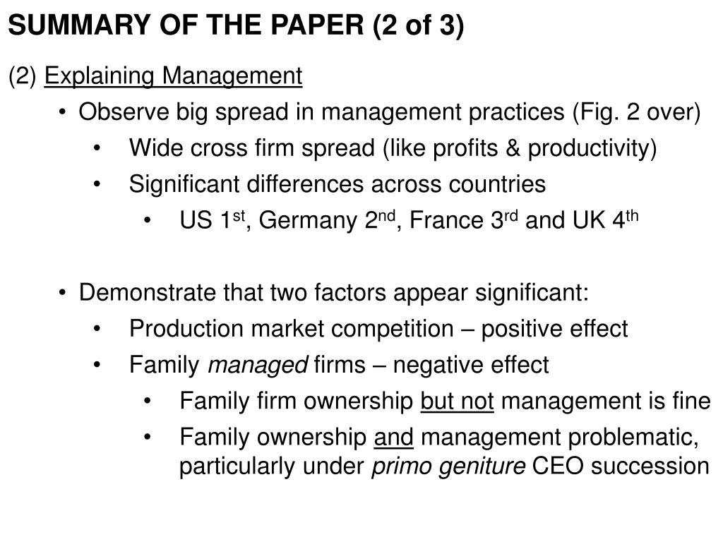 SUMMARY OF THE PAPER (2 of 3)