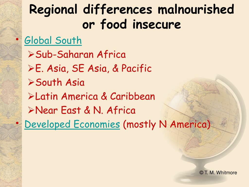 Regional differences malnourished or food insecure