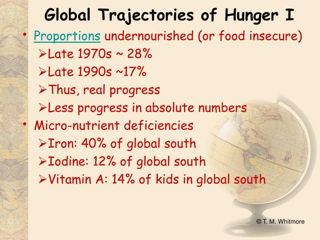Global Trajectories of Hunger I