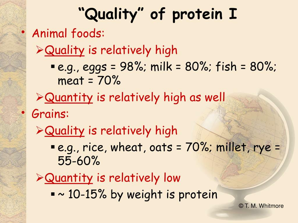 """Quality"" of protein I"