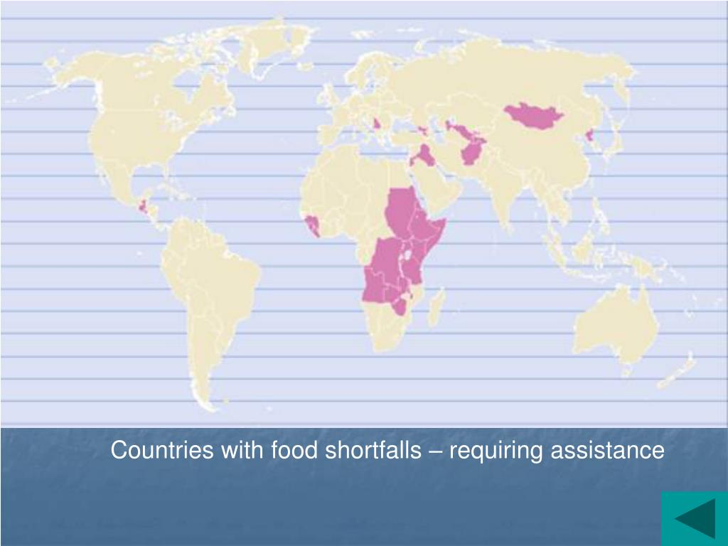 Countries with food shortfalls – requiring assistance