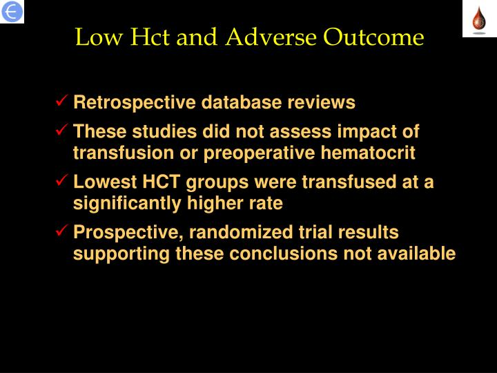 Low Hct and Adverse Outcome