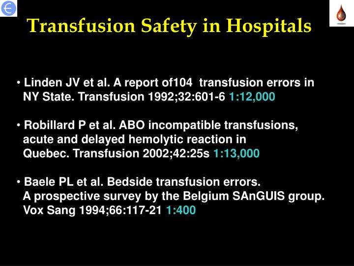 Transfusion Safety in Hospitals