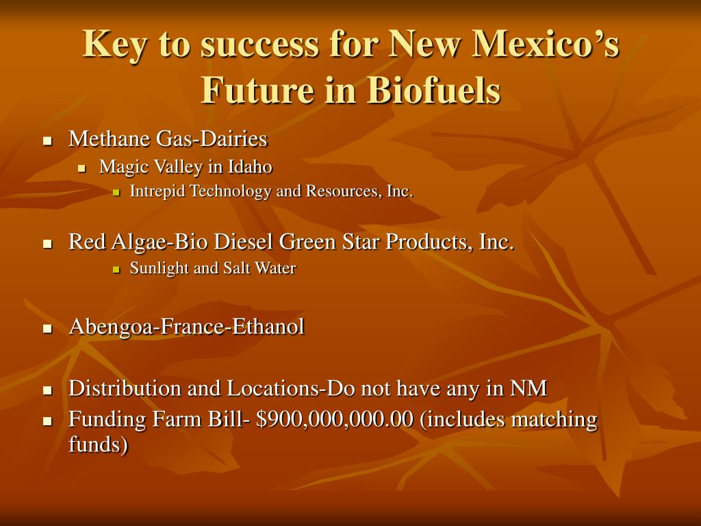Key to success for New Mexico's Future in Biofuels