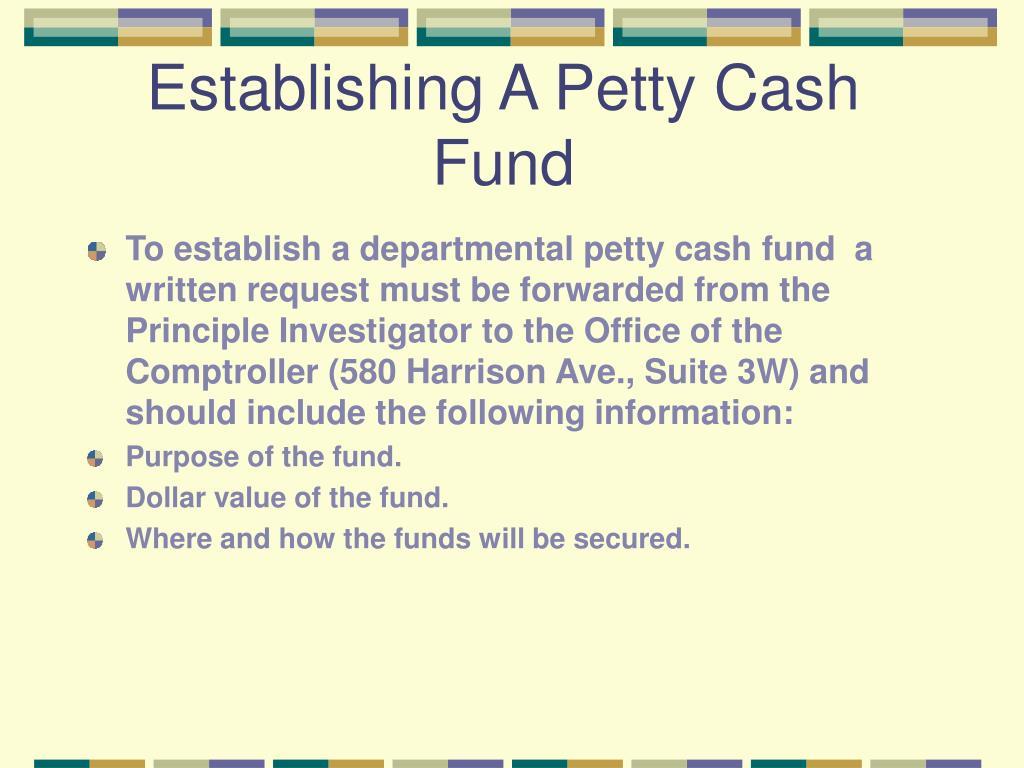 Establishing A Petty Cash Fund