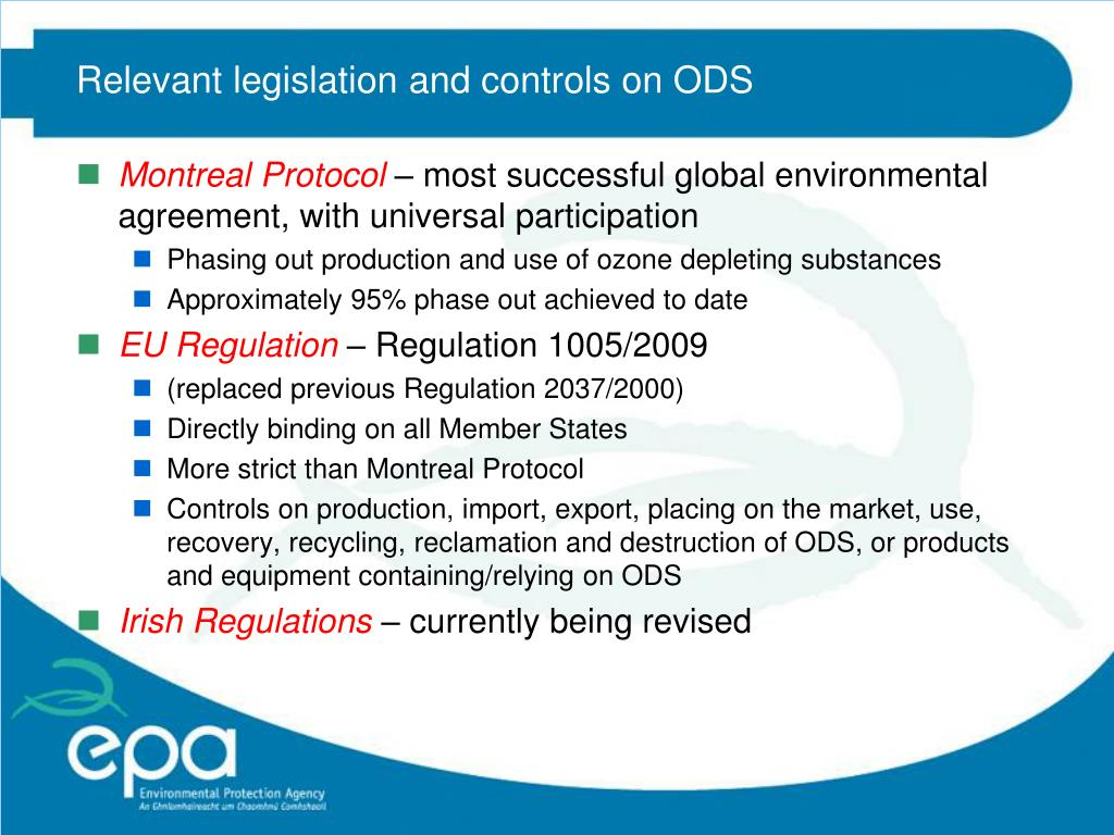 Relevant legislation and controls on ODS