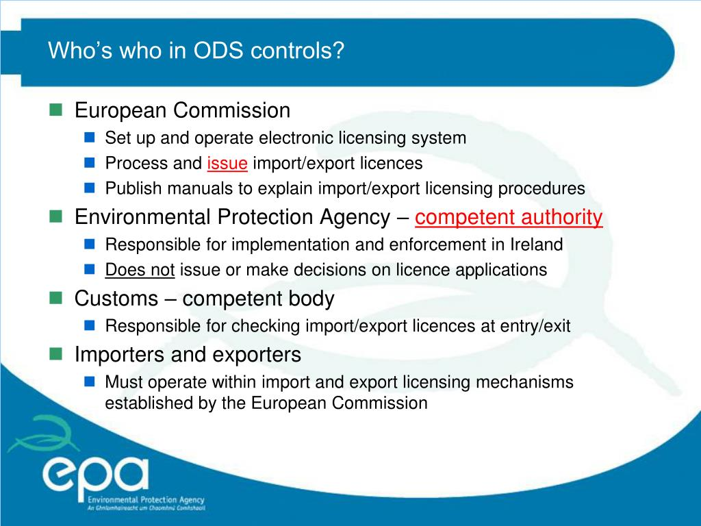 Who's who in ODS controls?