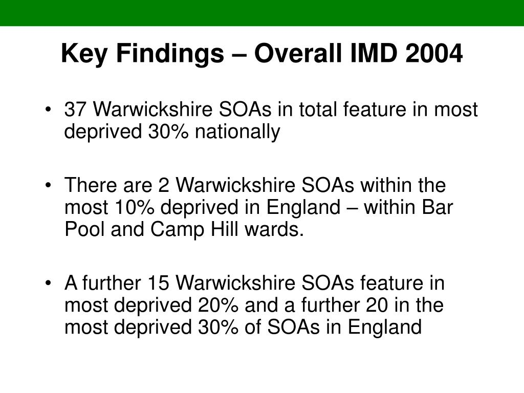 Key Findings – Overall IMD 2004