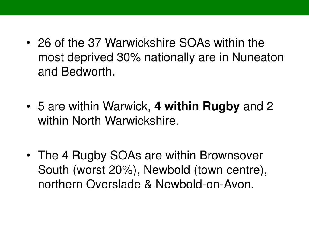 26 of the 37 Warwickshire SOAs within the most deprived 30% nationally are in Nuneaton and Bedworth.