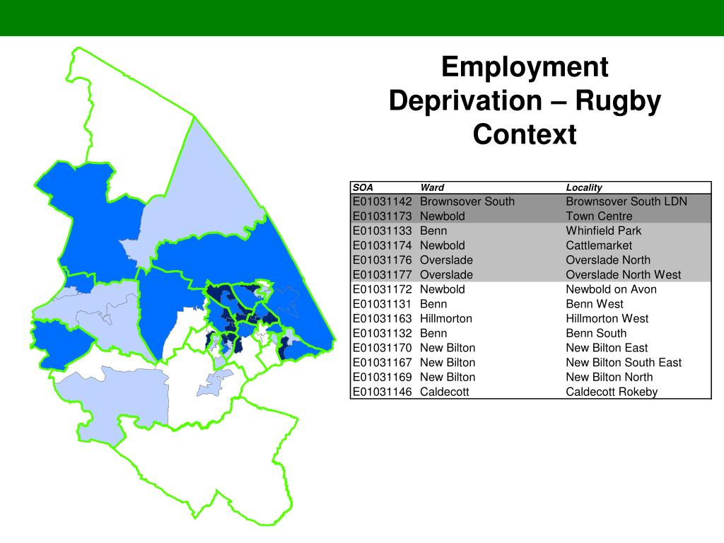 Employment Deprivation – Rugby Context