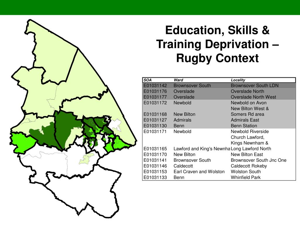 Education, Skills & Training Deprivation – Rugby Context