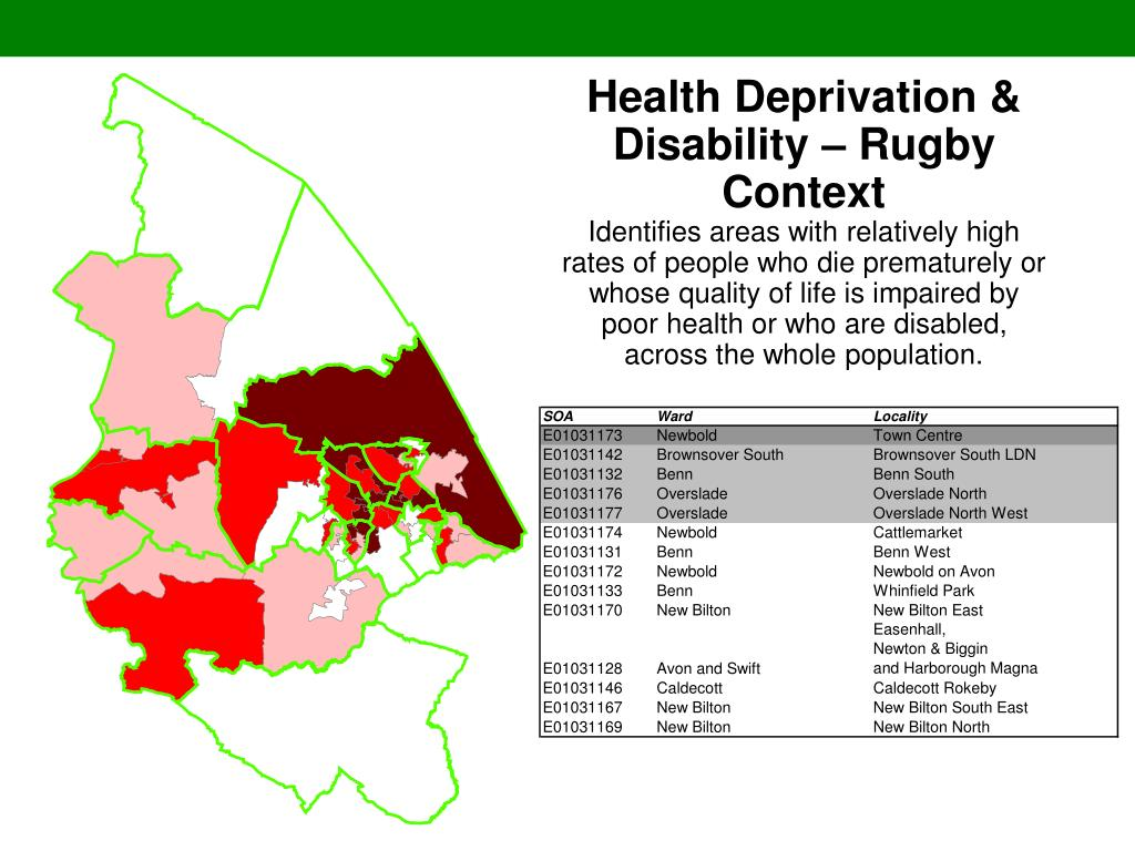 Health Deprivation & Disability – Rugby Context