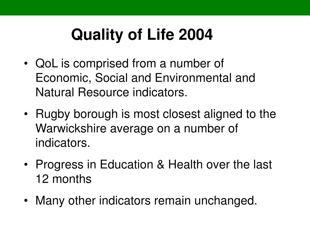 Quality of Life 2004