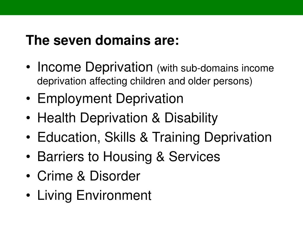 The seven domains are: