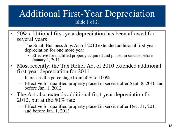 Additional First-Year Depreciation