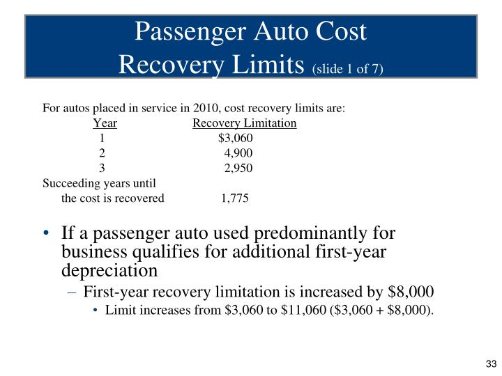 For autos placed in service in 2010, cost recovery limits are: