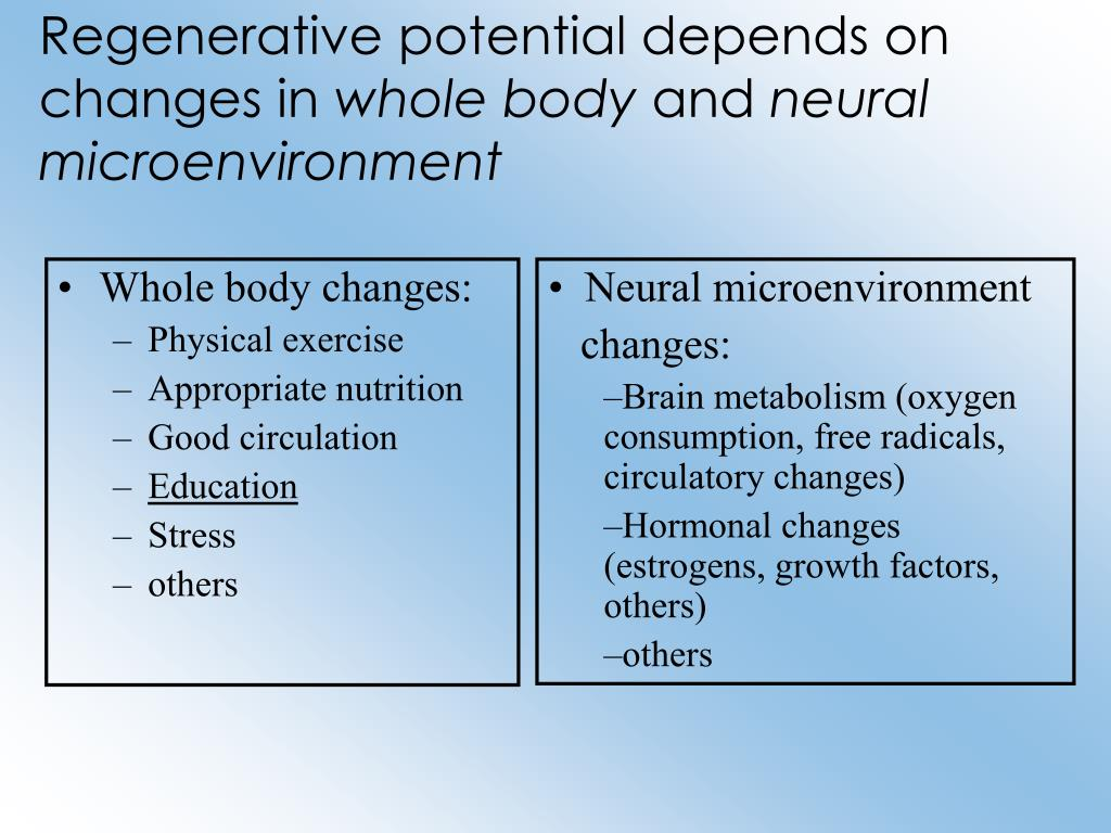Regenerative potential depends on changes in