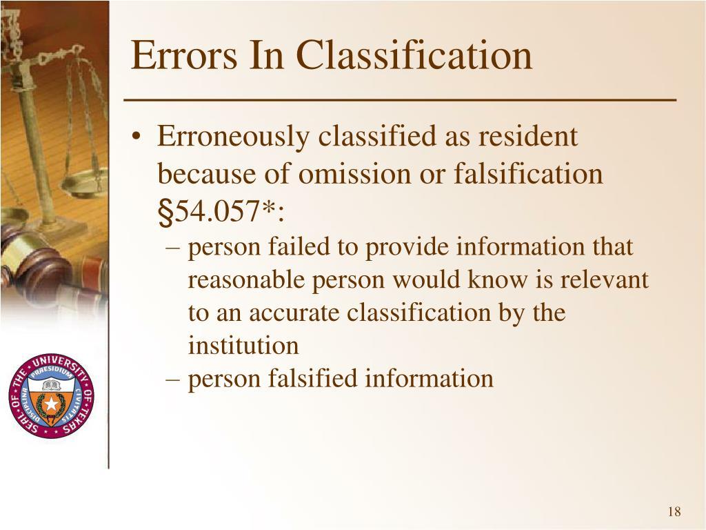 Errors In Classification