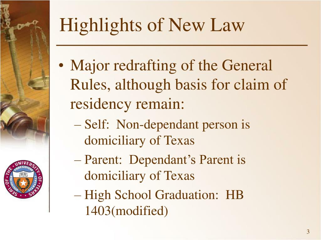 Highlights of New Law