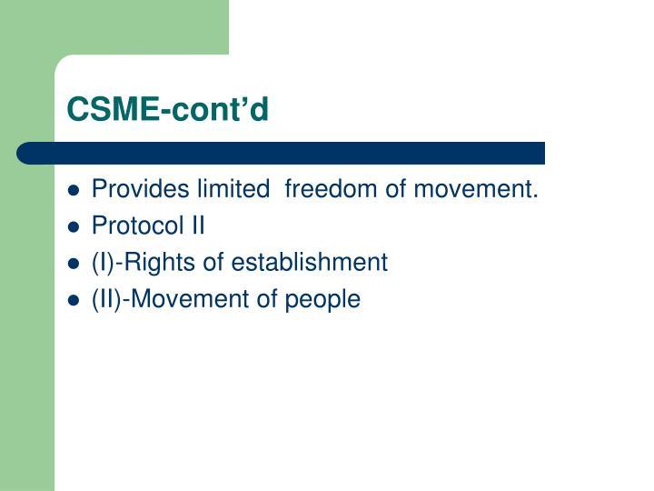 CSME-cont'd