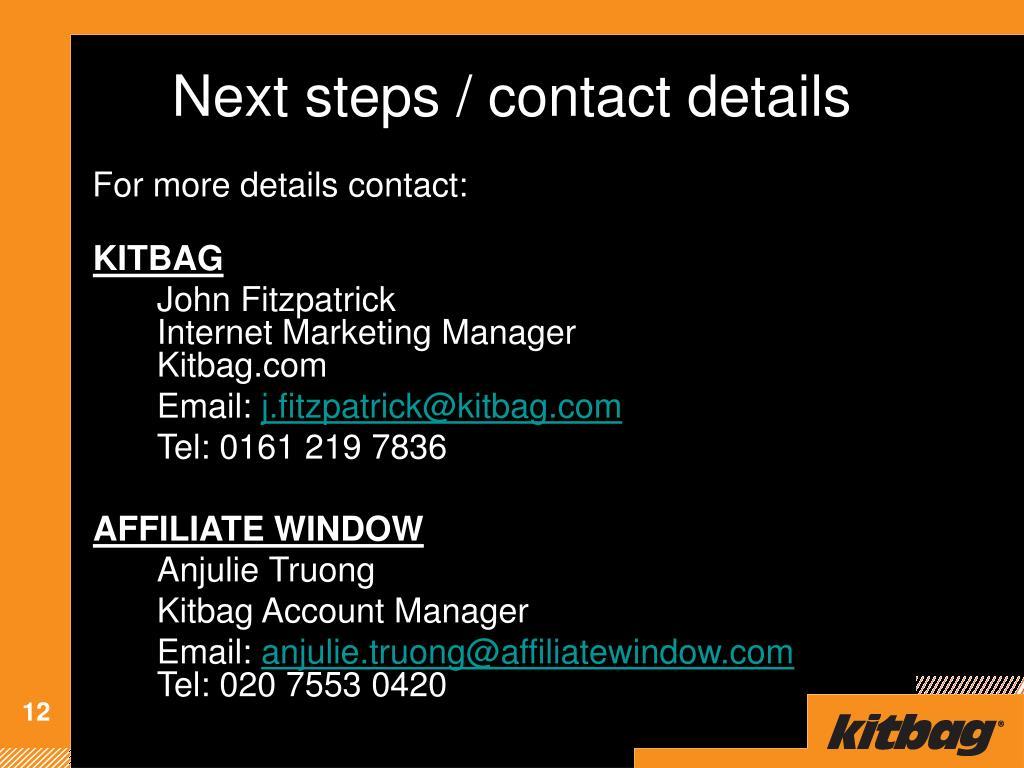 Next steps / contact details