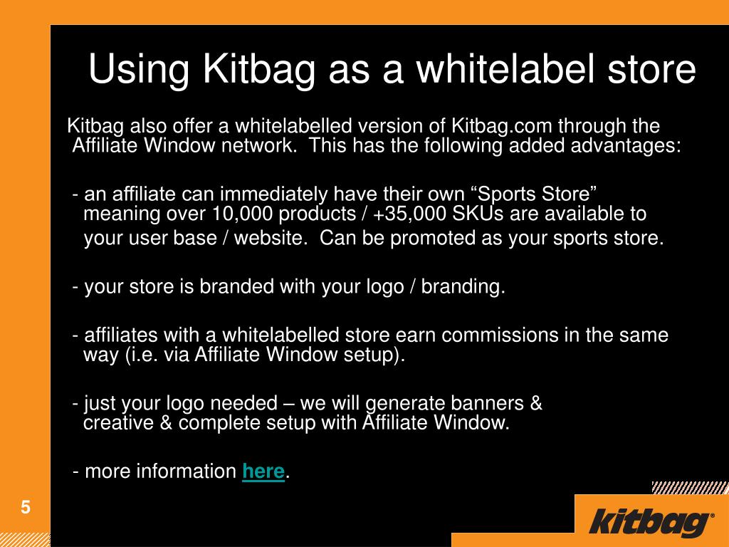 Using Kitbag as a whitelabel store