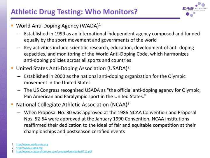 Athletic drug testing who monitors