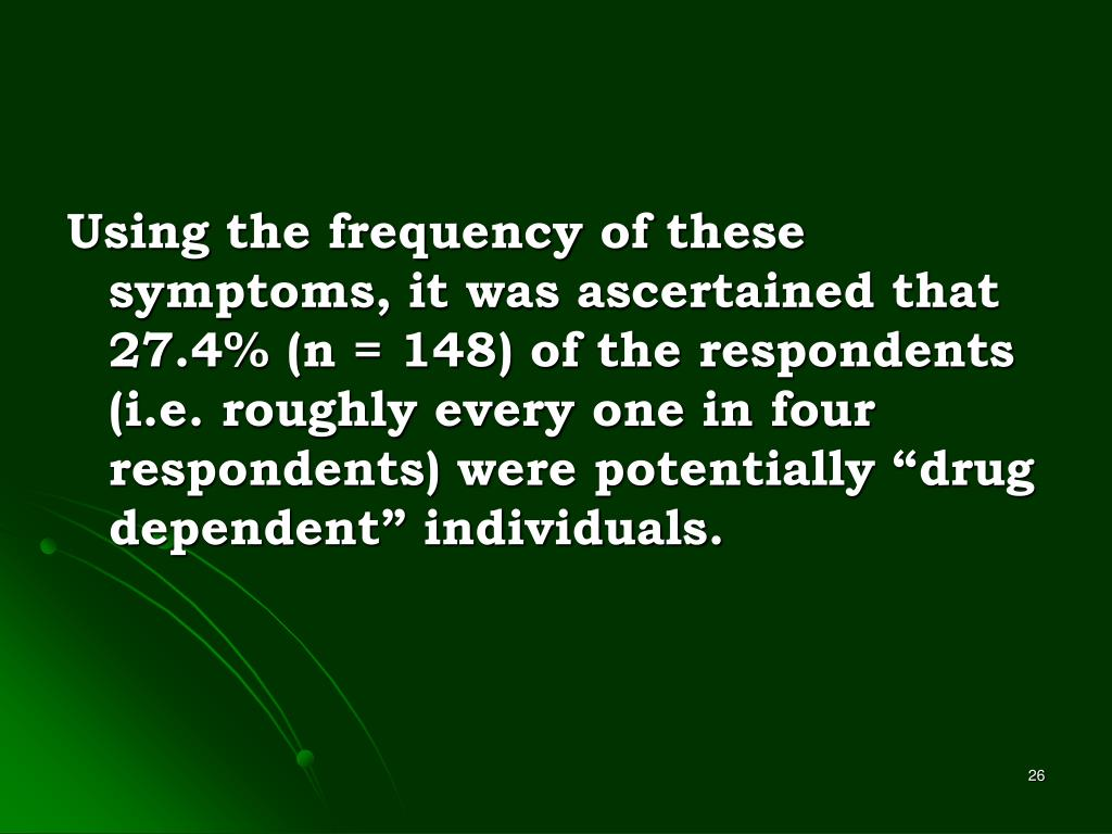 "Using the frequency of these symptoms, it was ascertained that 27.4% (n = 148) of the respondents (i.e. roughly every one in four respondents) were potentially ""drug dependent"" individuals."