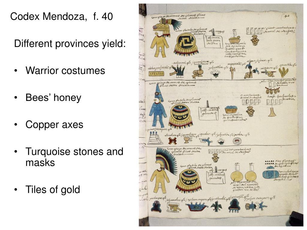 Codex Mendoza,  f. 40