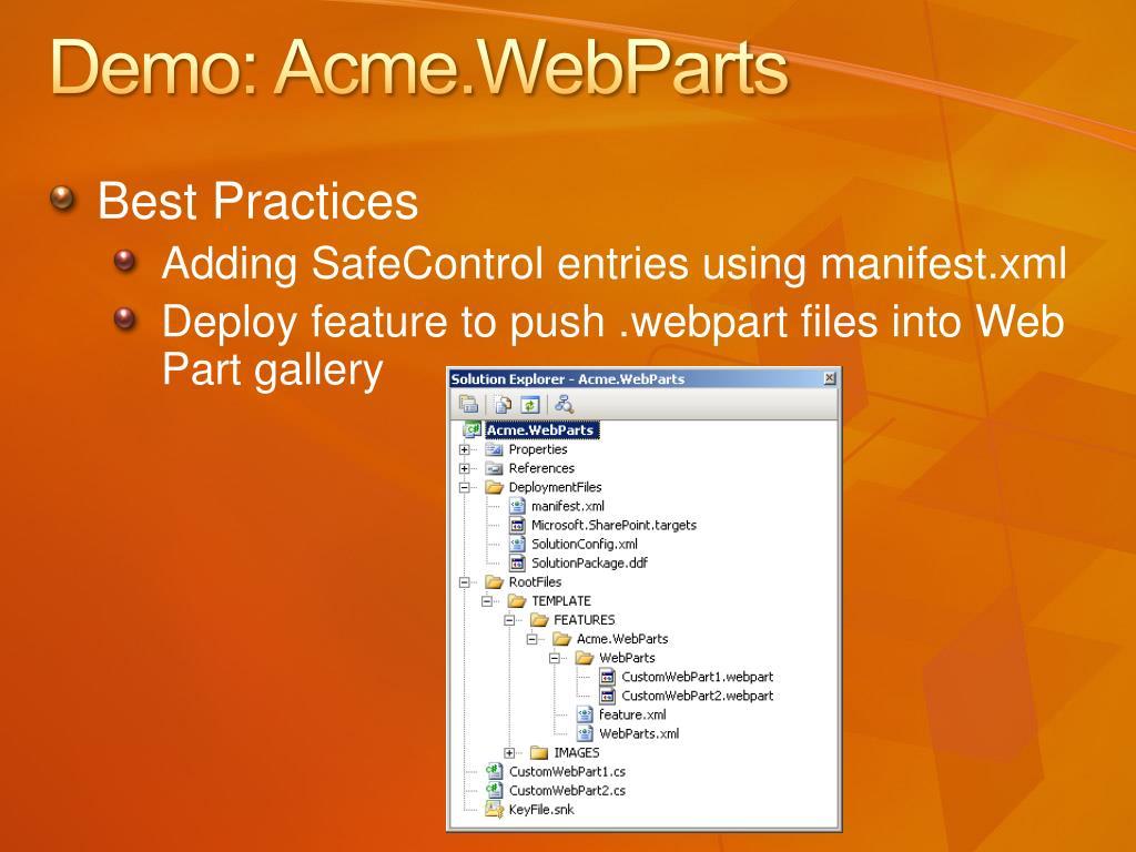 Demo: Acme.WebParts