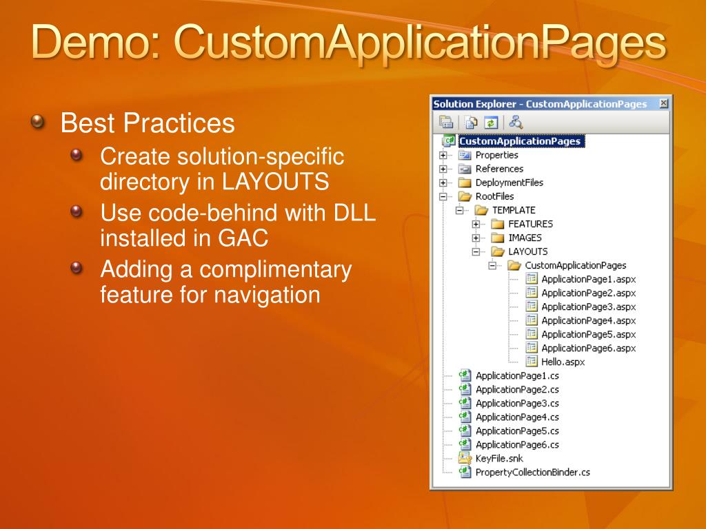 Demo: CustomApplicationPages