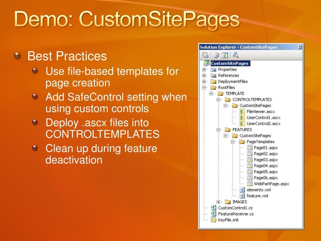 Demo: CustomSitePages