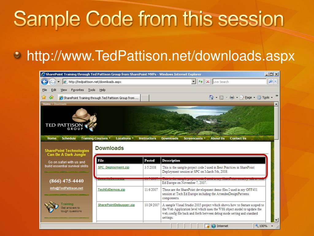 Sample Code from this session