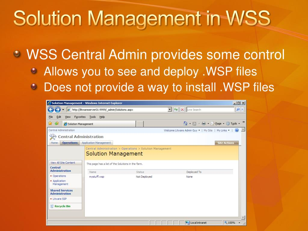 Solution Management in WSS