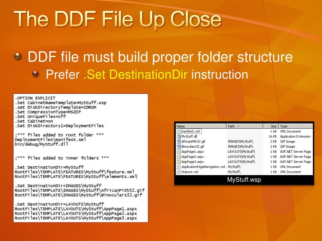 The DDF File Up Close
