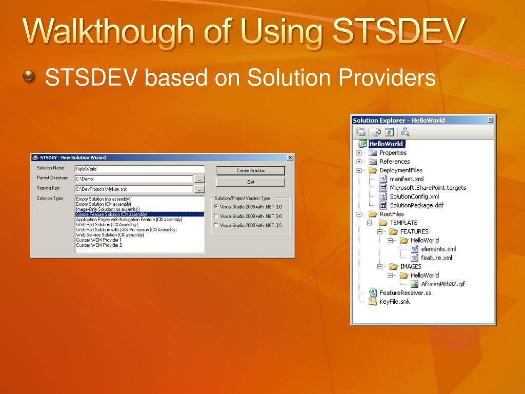 Walkthough of Using STSDEV