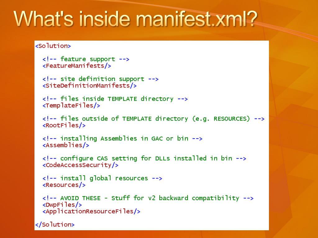 What's inside manifest.xml?