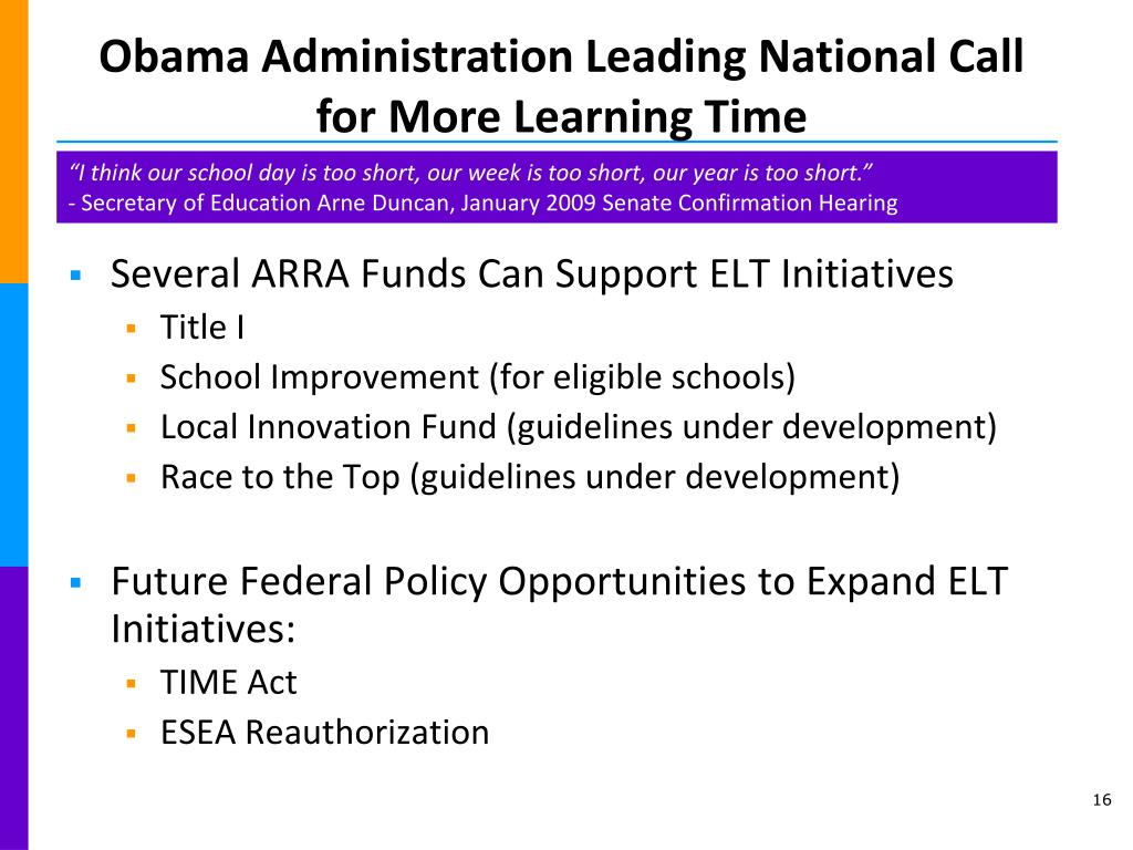 Obama Administration Leading National Call for More Learning Time