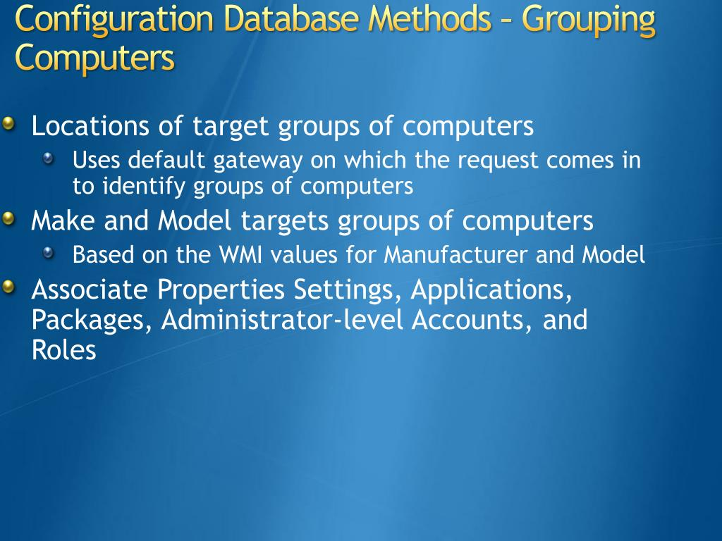 Locations of target groups of computers