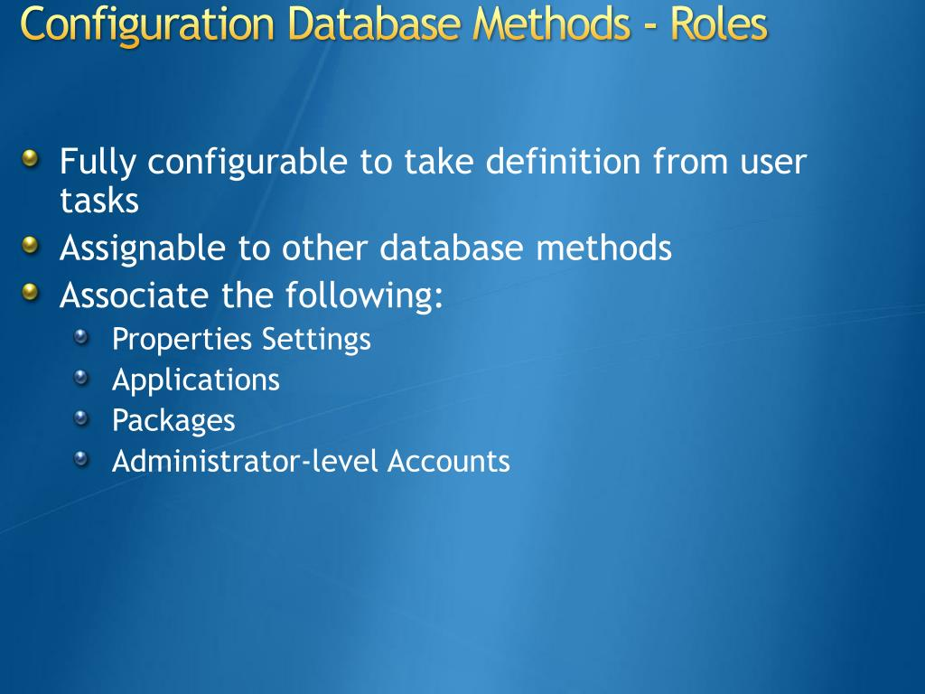 Fully configurable to take definition from user tasks