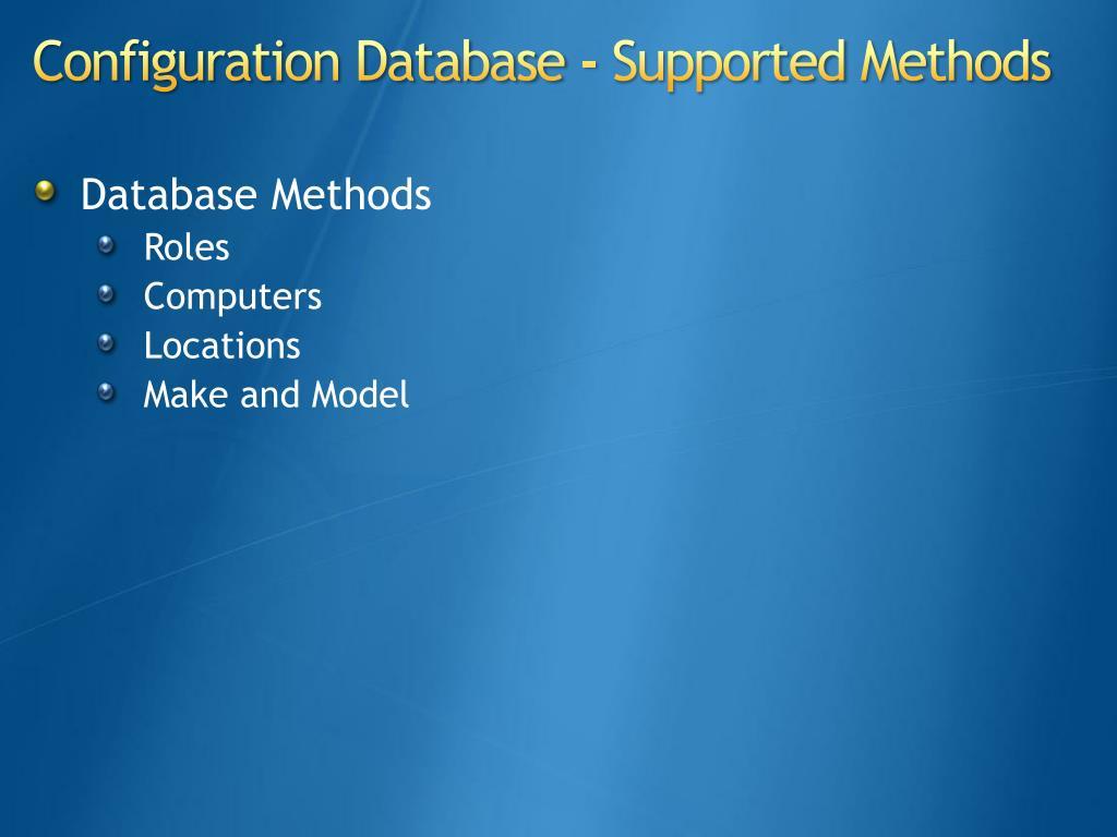 Database Methods