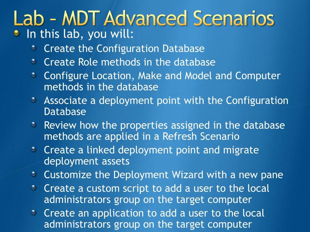 Lab – MDT Advanced Scenarios
