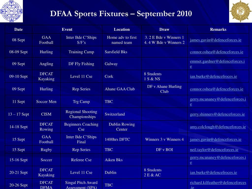 DFAA Sports Fixtures – September 2010