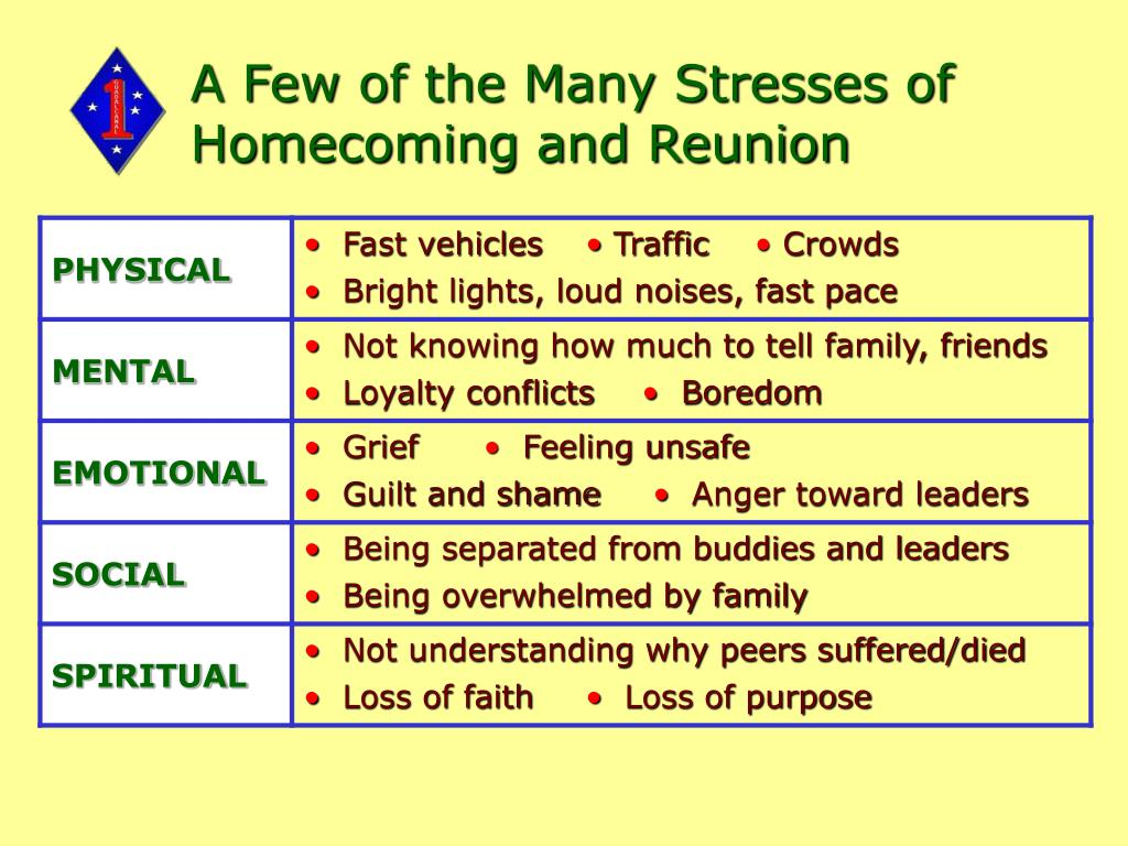 A Few of the Many Stresses of Homecoming and Reunion