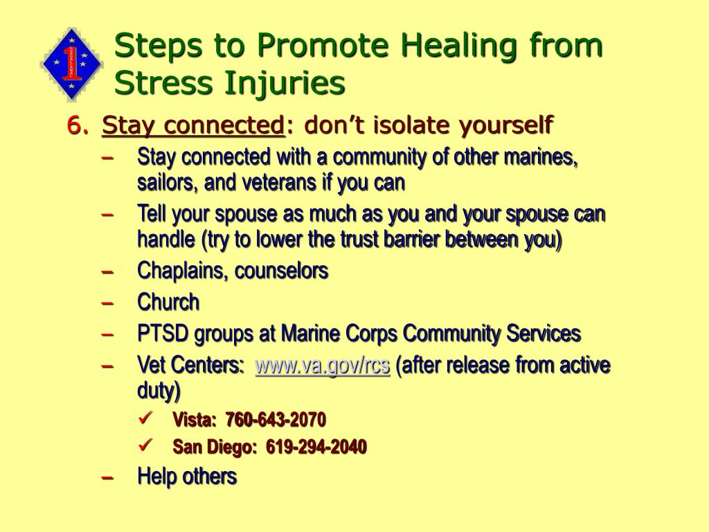 Steps to Promote Healing from Stress Injuries